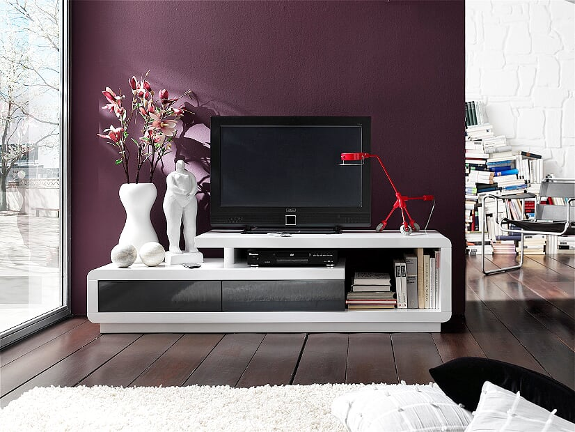 Abbi 170cm White And Grey Gloss TV Stand