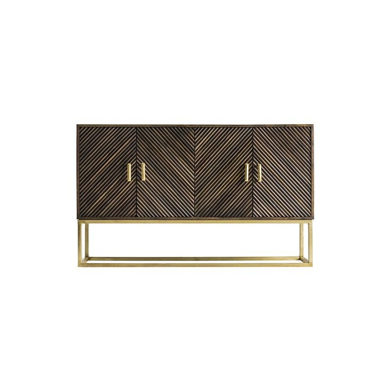 Sheena  153cm Art Deco Brown And Gold  Assembled Sideboard