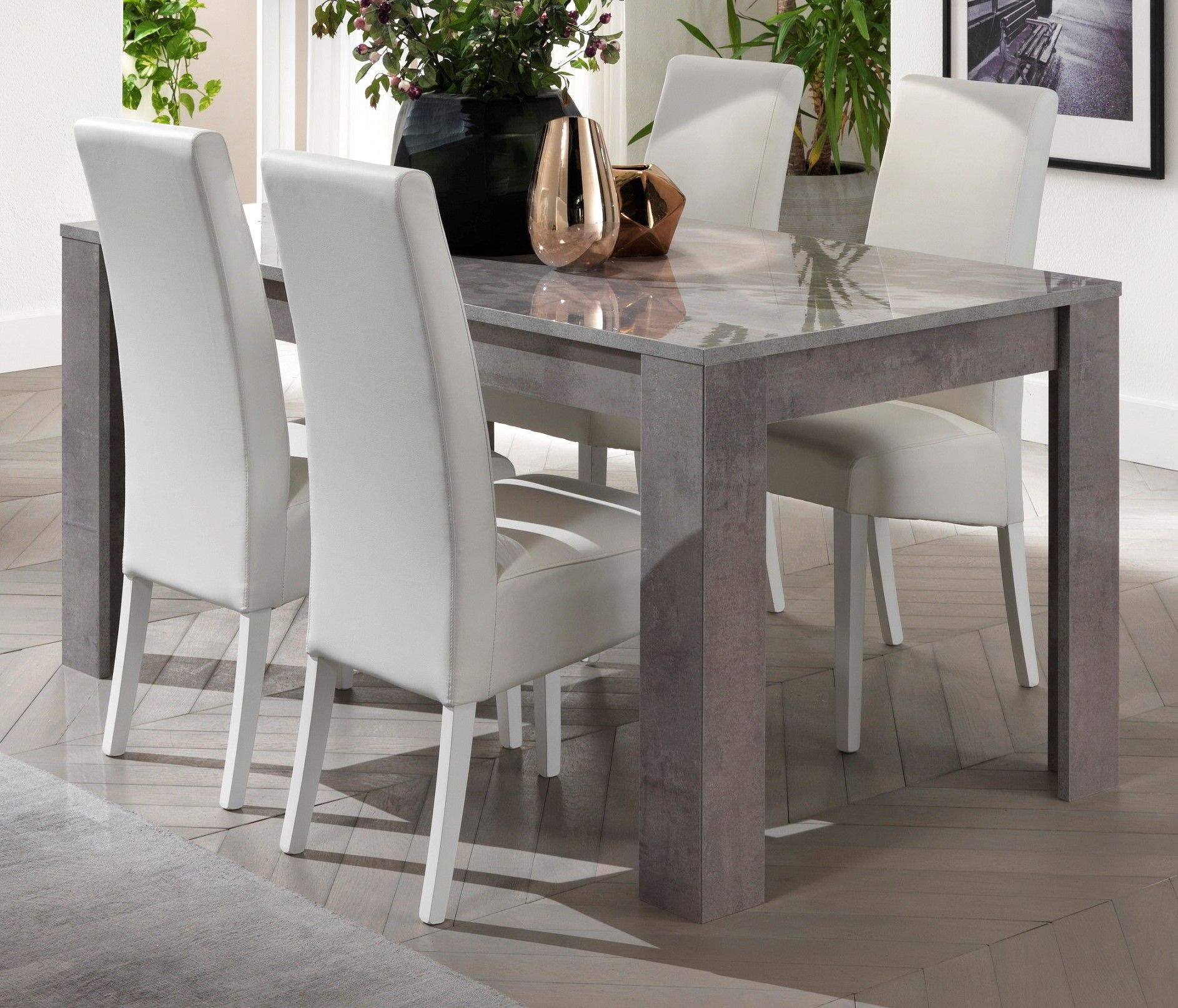 Picture of: Marble Effect Finish Adria Italian Grey Dining Table