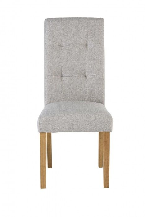 Ali Natural Coloured Fabric Dining Chair With Oak Leg