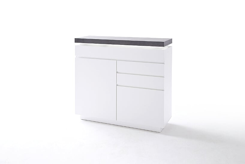 Amara 120cm Matt White Narrow Sideboard With Concrete Effect Top