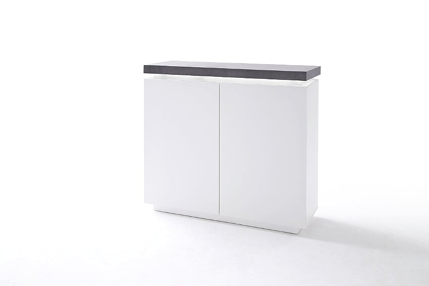 Amara 120cm White Matt & Concrete Narrow Sideboard