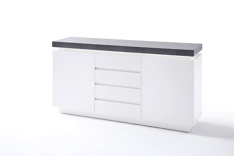 Amara 150cm White & Concrete 2 Door 4 Drawer Sideboard With LED