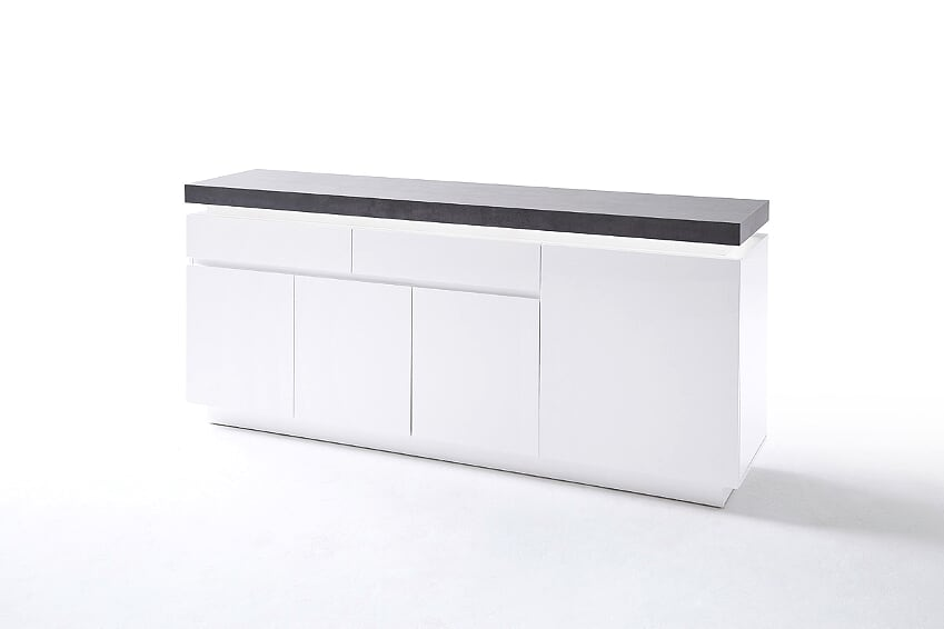 Amara 175cm White & Concrete 4 Door 2 Drawer Sideboard With LED