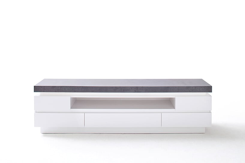 Amara 175cm White & Concrete 5 Drawer TV Stand  With LED