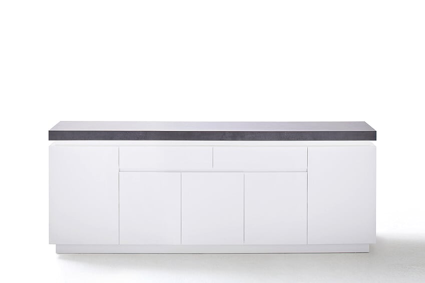 Amara 200cm White & Concrete 5 Door 2 Drawer Sideboard With LED