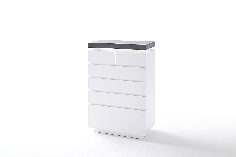 Amara 6 Drawer White & Concrete Narrow Chest Of Drawers