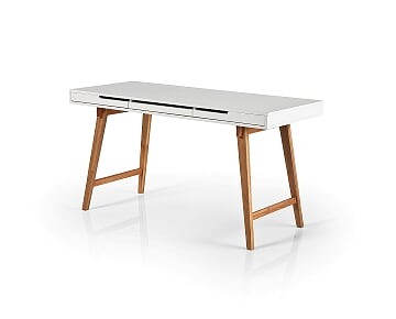 Anika 140cm White And Beech Office Desk