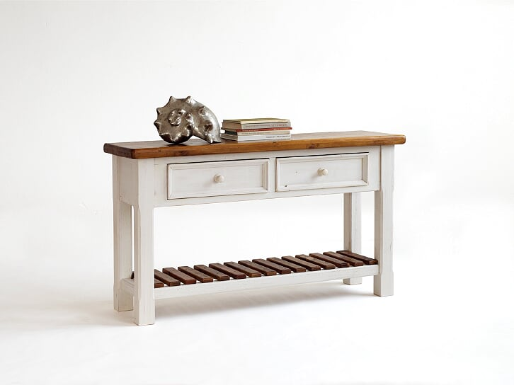 Boe 130cm Antiqued White And Pine Console Table