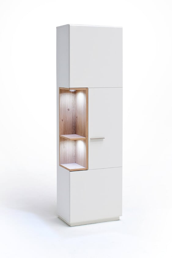 Cessinatra LH 60cm Slim White And Oak Display Cabinet