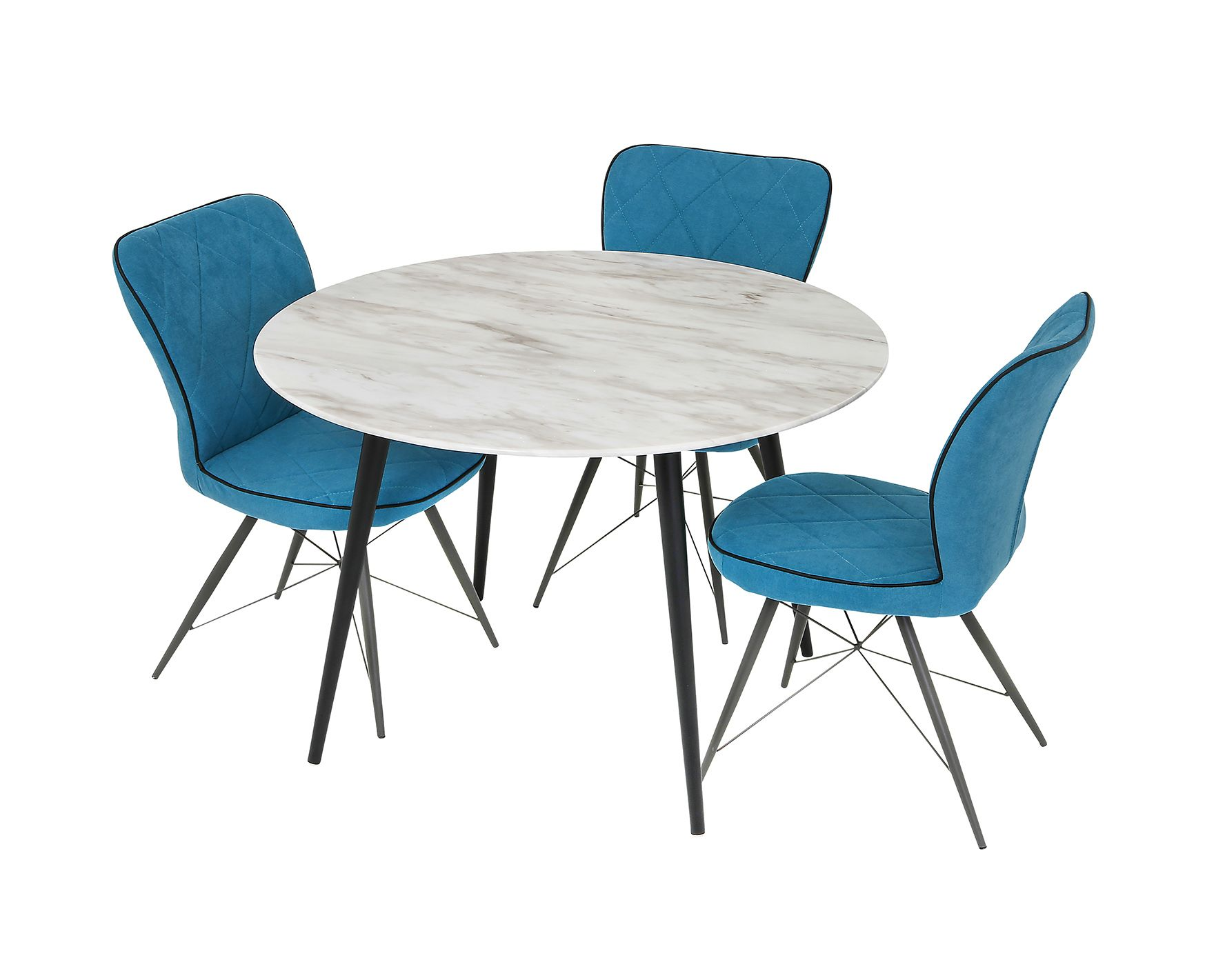 Marble Top Cleo Round Dining Table With Steel Legs 110cm
