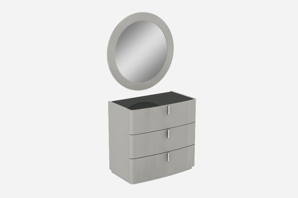 High Gloss David Cashmere Grey 3 Chest of Drawers with Black Top