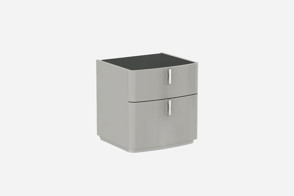David Cashmere Grey  High Gloss Bedside Table-Black Top