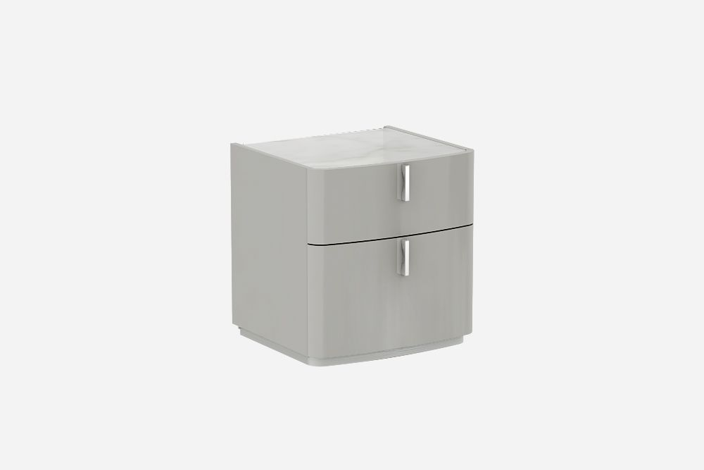 David Cashmere Grey  High Gloss Bedside Table-Calcutta Marble Top