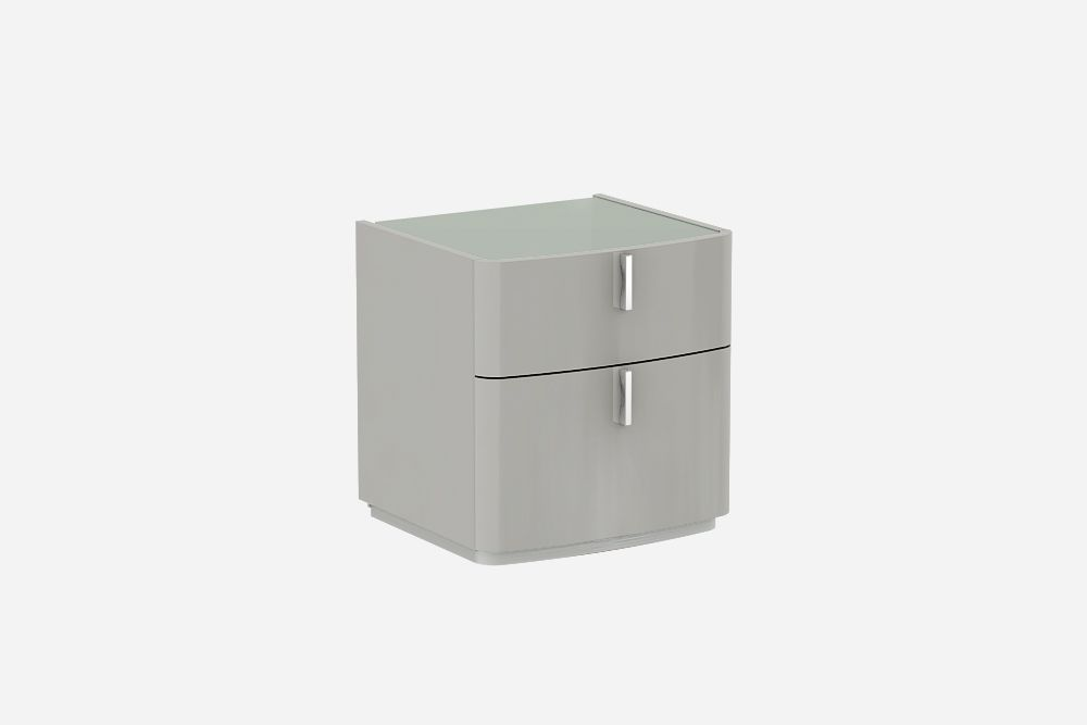 David Cashmere Grey  High Gloss Bedside Table-Light Grey Glass Top