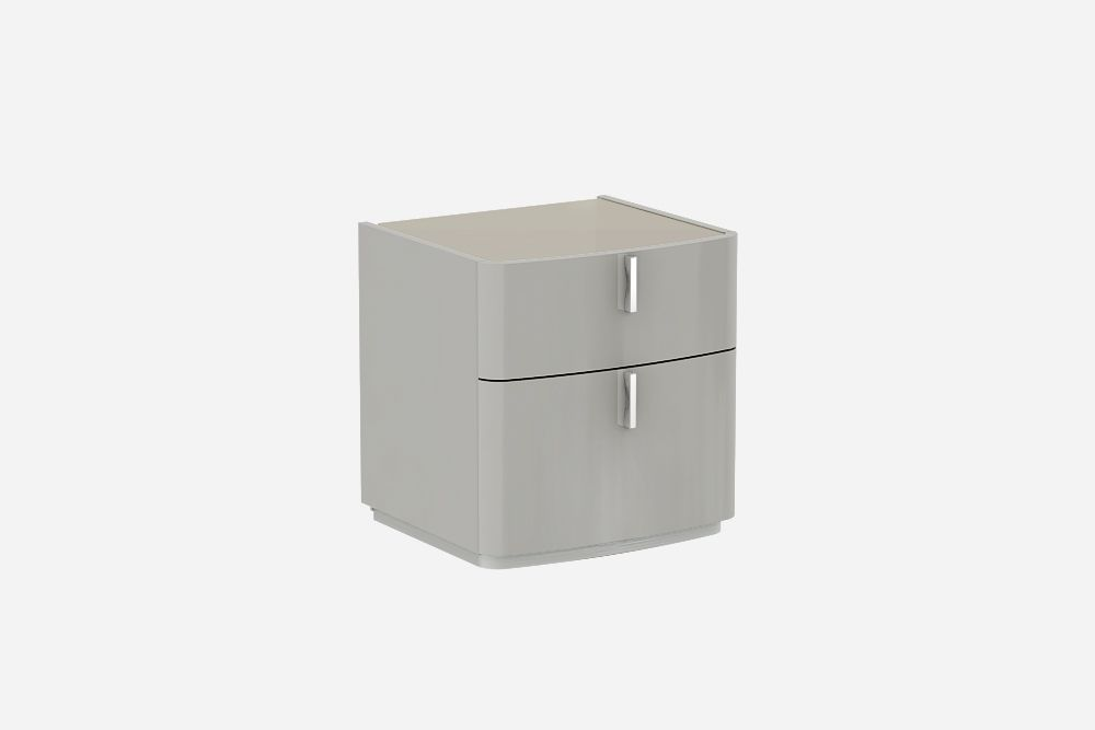 David Cashmere Grey  High Gloss Bedside Table-Warm Grey Glass Top