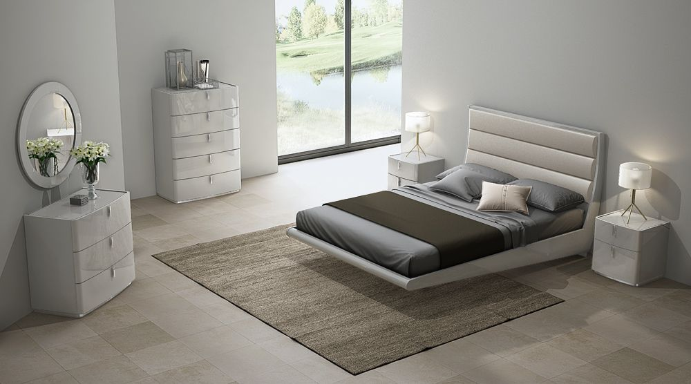 David Cashmere Grey  High Gloss King Size Bed