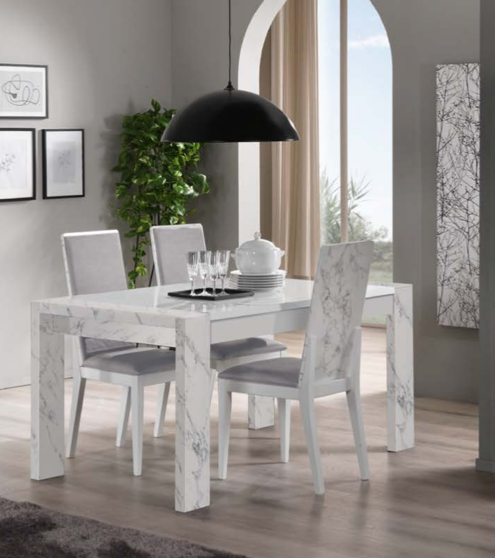 Edina White And Grey Marble Rectangular Italian Dining Table
