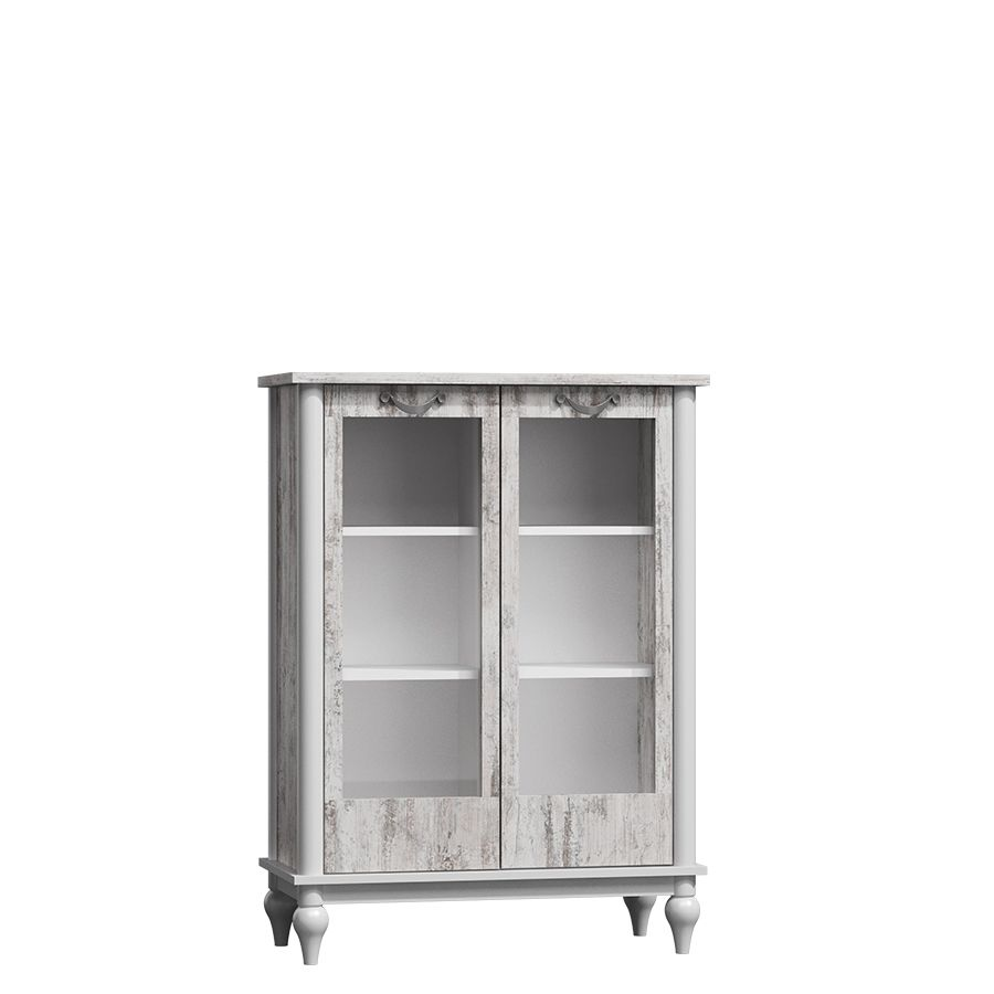 Elamay 95cm Off White And Bleached Pine Low Display Cabinet