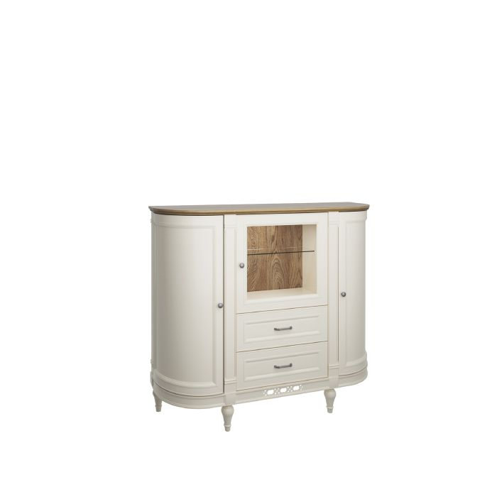 Florence 135cm Vanilla Cream Display  Cupboard With Drawers