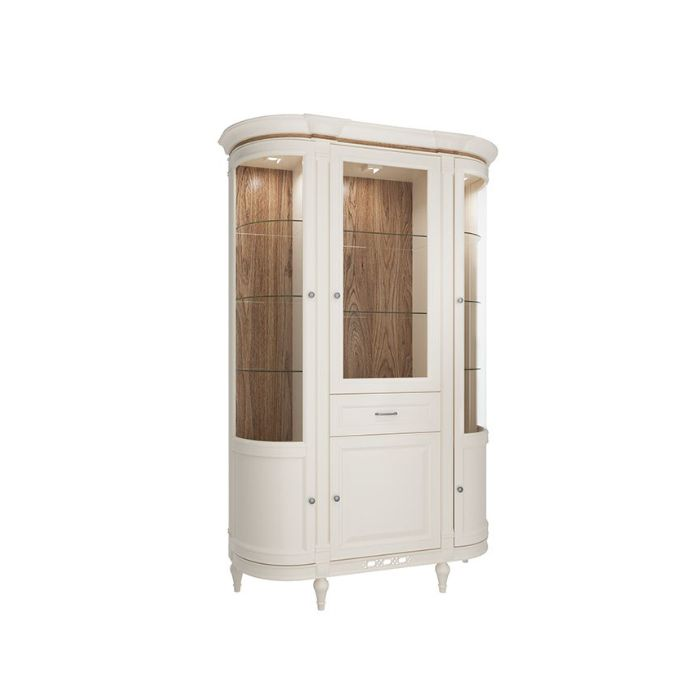Florence 143cm Vanilla Cream  Curved Display Cabinet