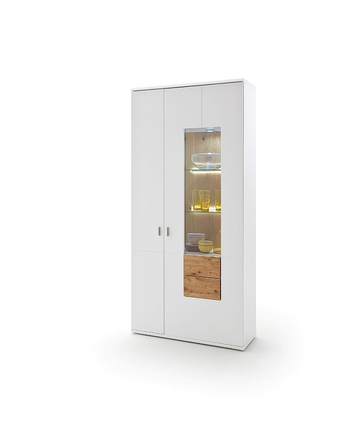 Kanony 94cm White And Oak Wide Display Unit