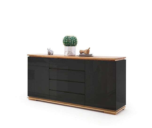 Kiara 172cm Black Gloss And Oak  Sideboard