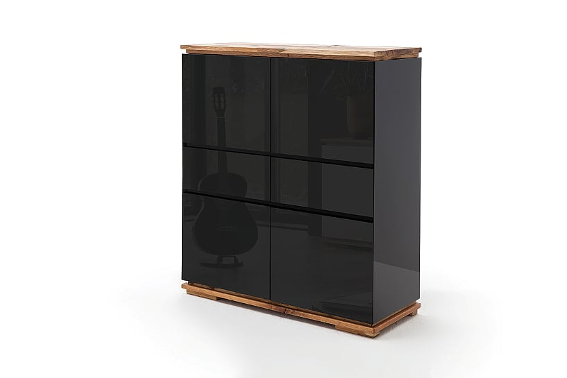 Kiara  Black Gloss And Oak Tall Sideboard