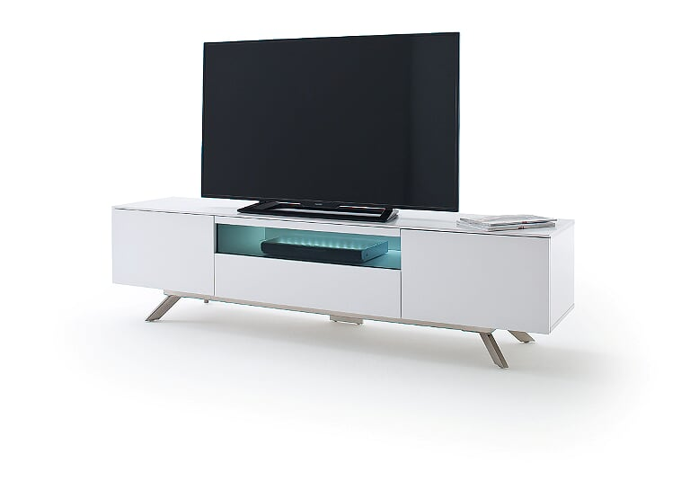 Lena 183cm Matt White And Black Glass TV Stand With LED