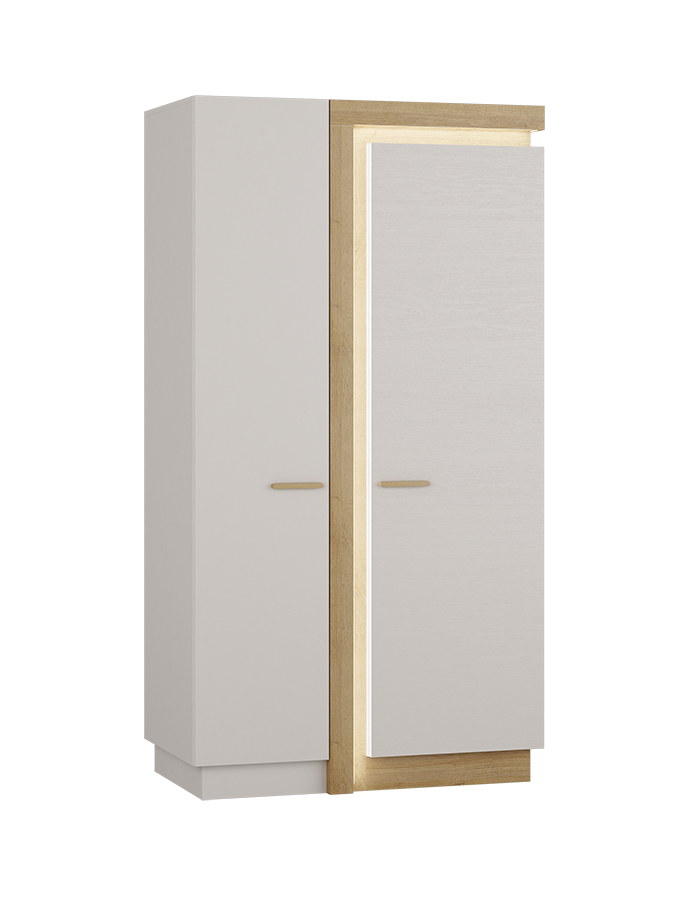 Lionell 106cm Riviera Oak And White Gloss Storage Cupboard