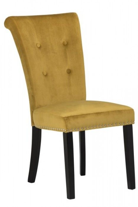Matina Yellow Velvet Dining Chair With Black Legs