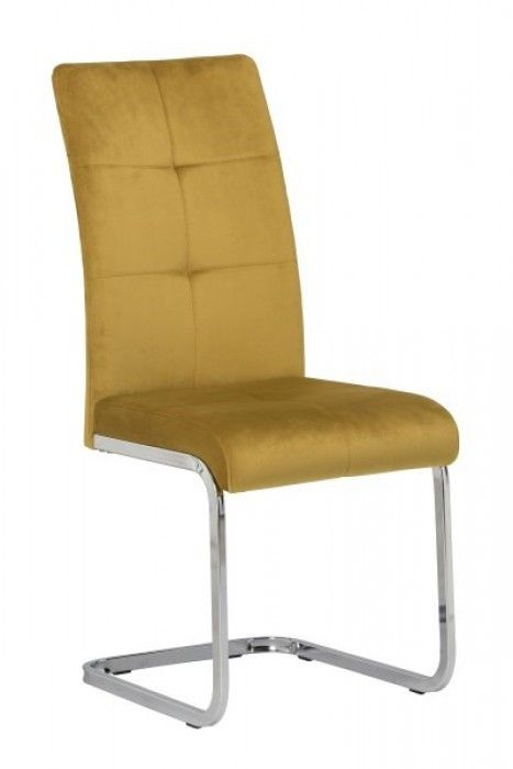 Menna Yellow Velvet Dining Chair