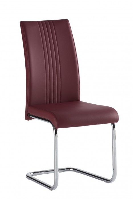 Mona Deep Red Faux Leather Dining Chair
