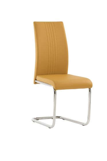 Mona Mustard Yellow Faux Leather Dining Chair