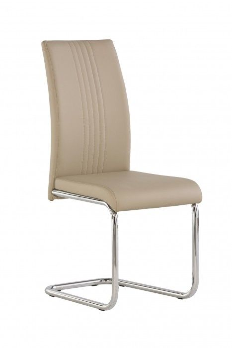 Mona Stone Beige Dining Chair With Chrome Frame