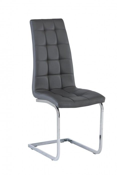 Morely Grey Faux Leather Dining Chair With Cantilever