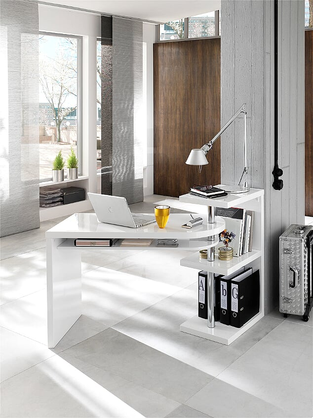 Pocock 145cm White Gloss Office Desk