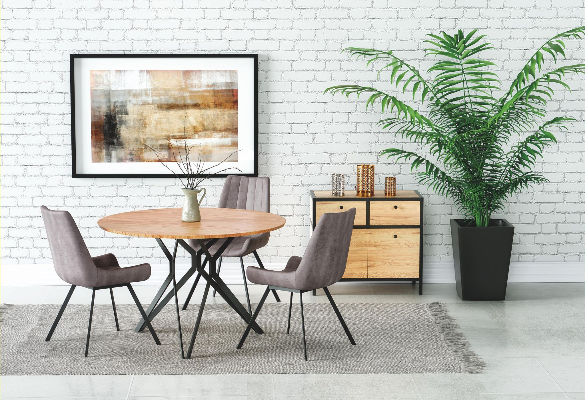 Tremendous Precia Round Oak Dining Table 120Cm Complete Home Design Collection Lindsey Bellcom