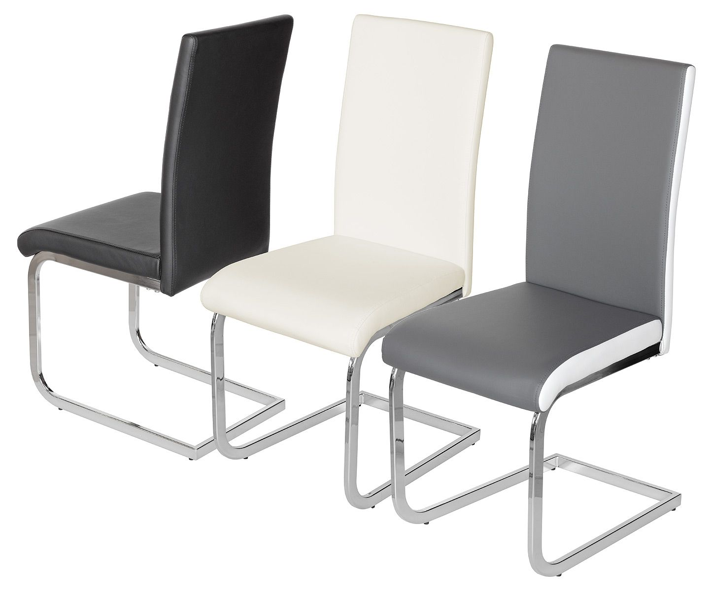 Prinny Pu Sprung Steel Dining Chair Black Cream Or Grey
