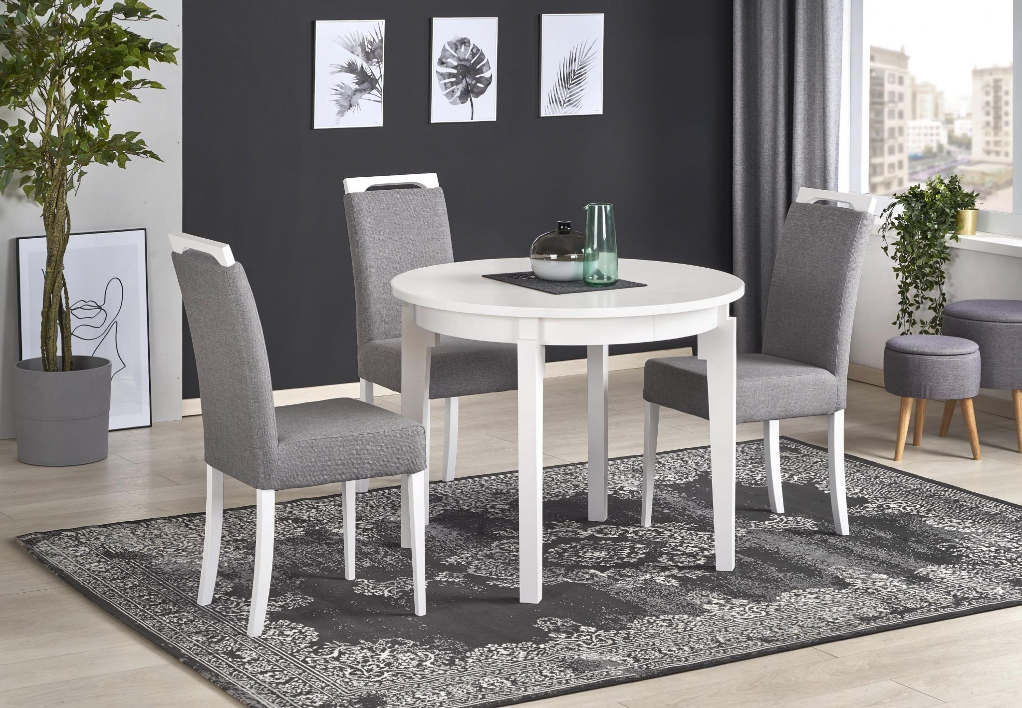 Sally White Round Wooden Extending Dining Table 9cm 9cm