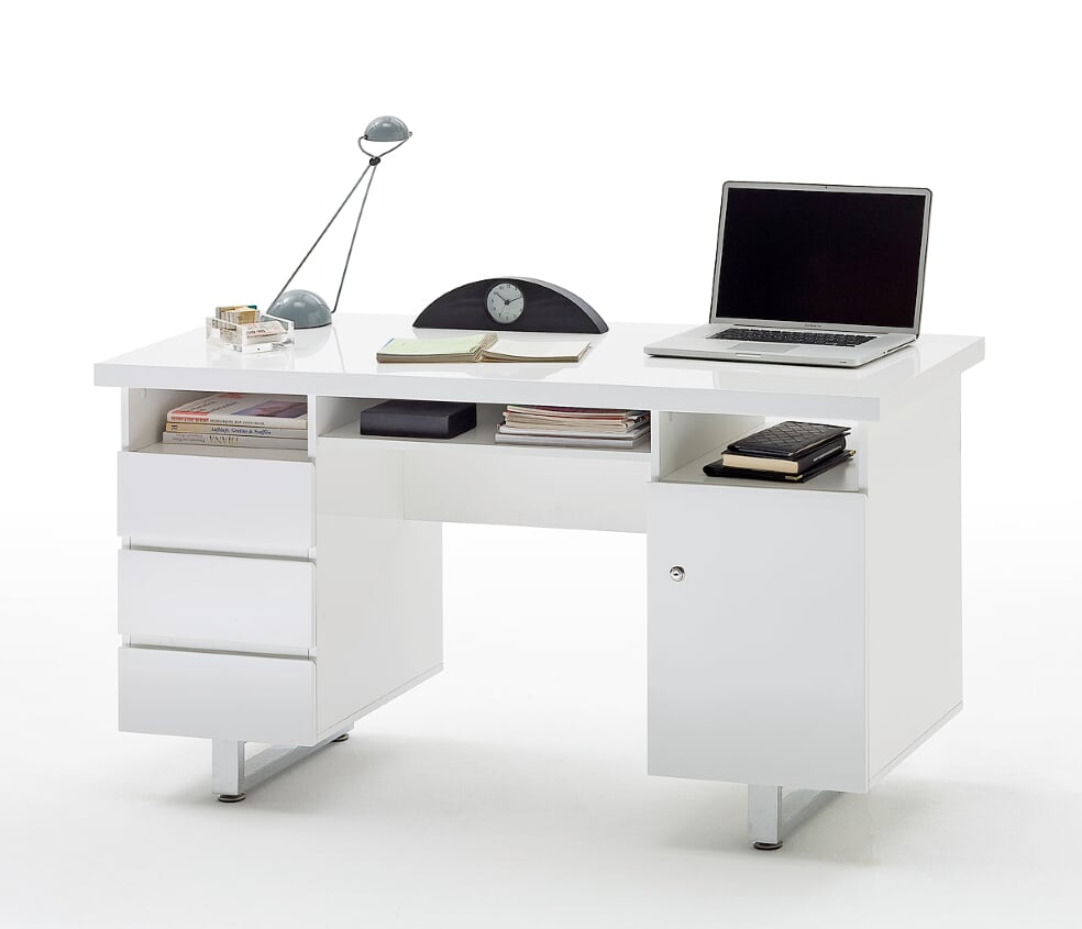 Syndi 140cm White Gloss Office Desk