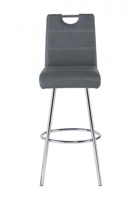 Valance Grey Leather Bar Stool