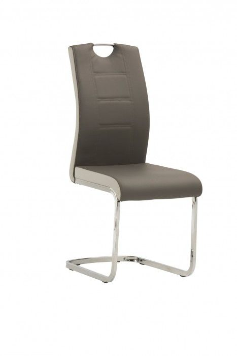 Vincenza Grey And White Leather Dining Chair