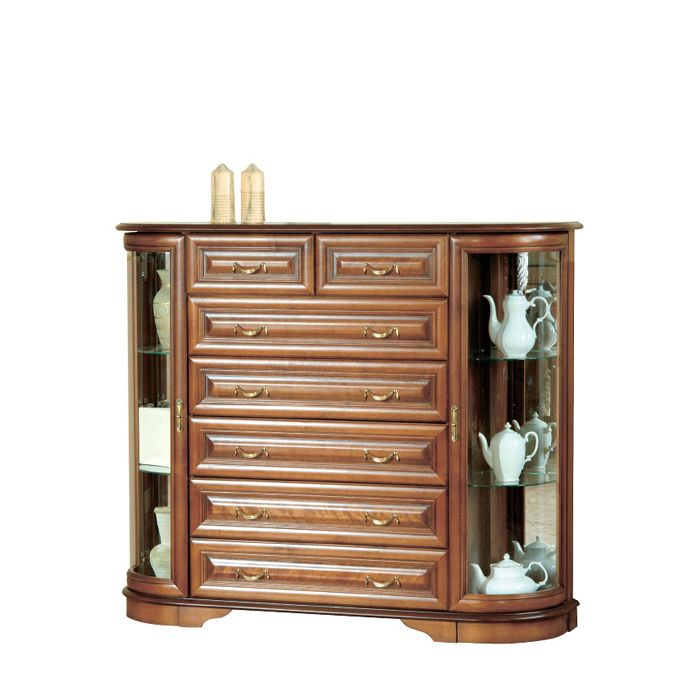 Dark Toffee Brown Finish Zander Sideboard With Side Display