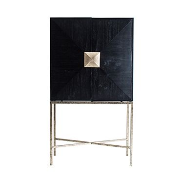 Zethlyn  Gold And Black Home Bar / Cupboard
